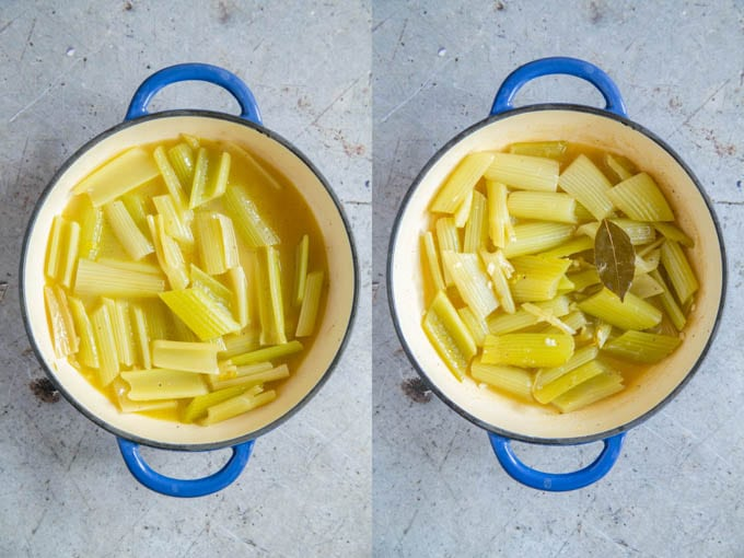 Braised celery, before and after reducing the sauce. The liquid has halved in volume.