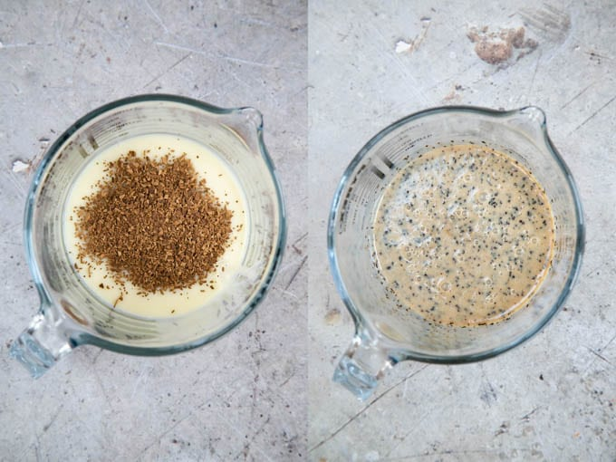 Making chocolate coffee fudge: adding instant coffee to condensed milk. 2 pictures, before and after.