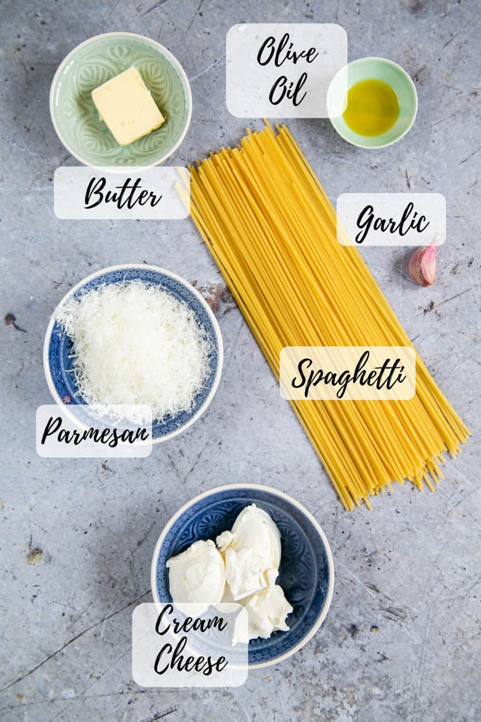 Ingredients for cheesy pasta: spaghetti, olive oil, garlic, butter, cream cheese, and parmesan.