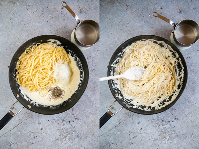 Step four - adding the pasta, grated cheese and seasoning to the sauce, and stirring together. 2 pictures. before and after stirring.