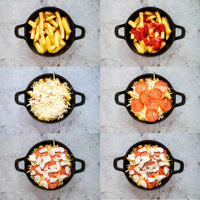 A collage of six photos showing the stages of adding pizza topping to cooked oven fries: tomato sauce, then grated cheddar, salami, mozzarella and finally seasoning.