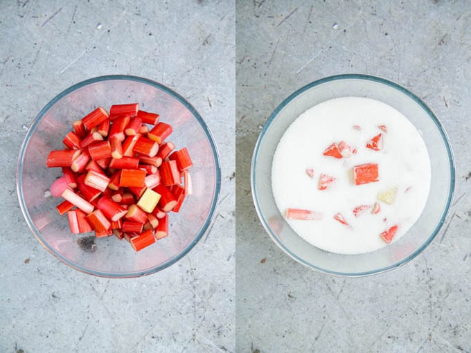Rhubarb pieces in a glass bowl, before and after adding sugar.
