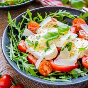 Close up of white and red tomato mozzarella salad