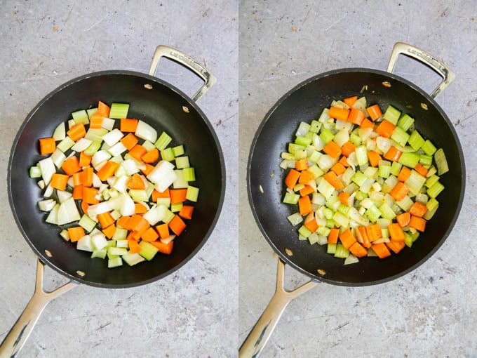 A frying pan, from above, showing vegetables - sliced celery and carrots - before and after cooking