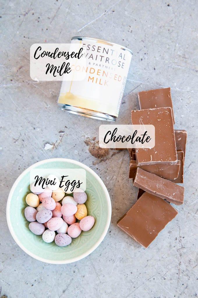 Chocolate, condensed milk and mini eggs - the ingredients for this delicious fudge!