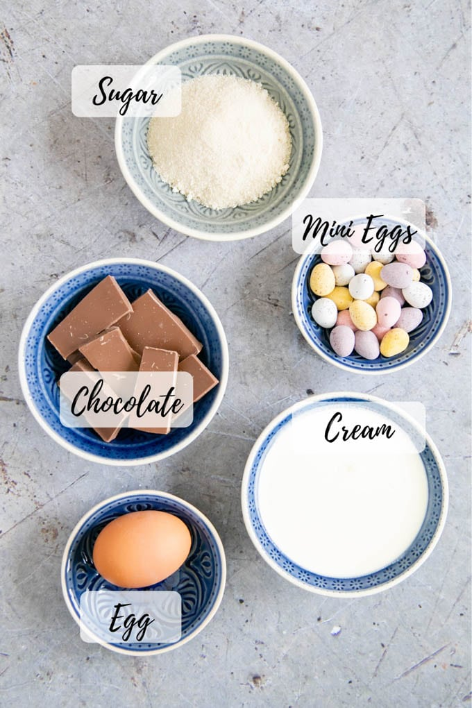 Annotated, labeled picture of ingredients: sugar, chocolate, cream, mini eggs, and an egg.