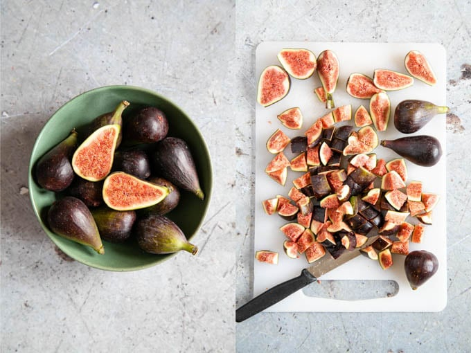 Whole figs, and ones that have been cut into small pieces.