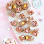 Square pieces of fudge with mini easter eggs inside