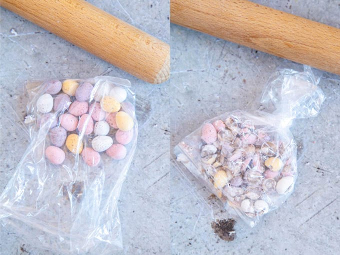 Before and after pictures of crushing a plastic bag of mini Easter eggs with a rolling pin.