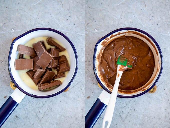 Making fudge: gently melting chocolate in condensed milk.