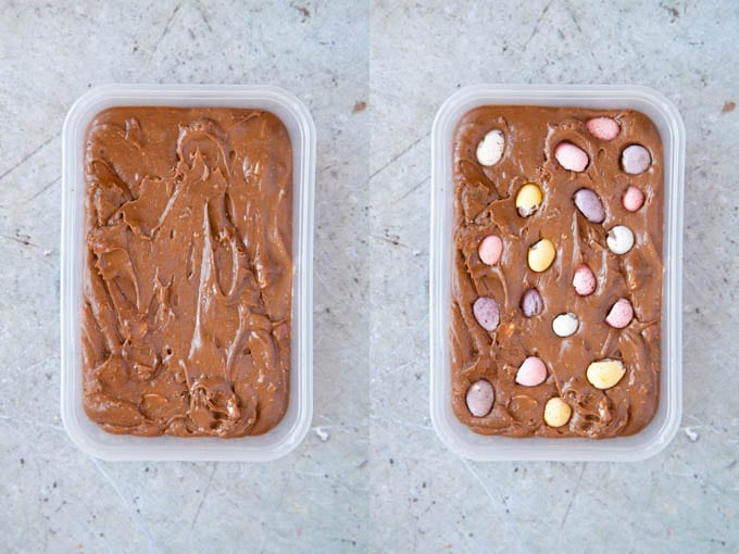 Two trays of mini Easter egg fudge - with and without whole eggs as a garnish.