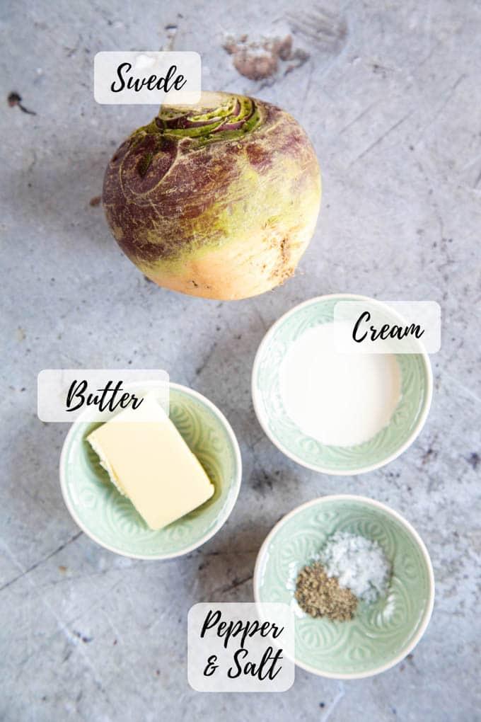 Ingredients for swede mash - swede, butter, cream, salt and pepper.