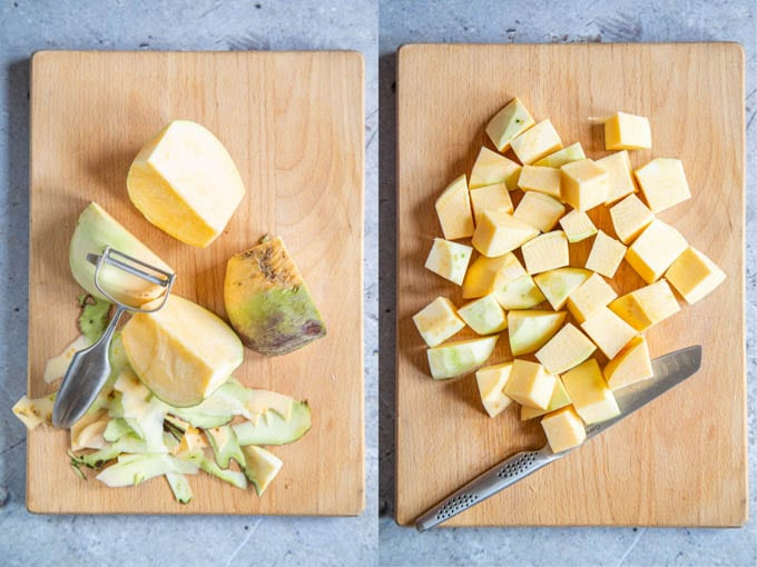 """A collage showing swede being peeled and then chopped into 2""""/5cm chunks."""