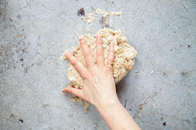 Wholewheat self raising flour bread - giving the dough a brief knead.