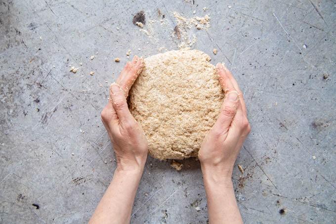 Wholewheat self raising flour bread - forming the dough.