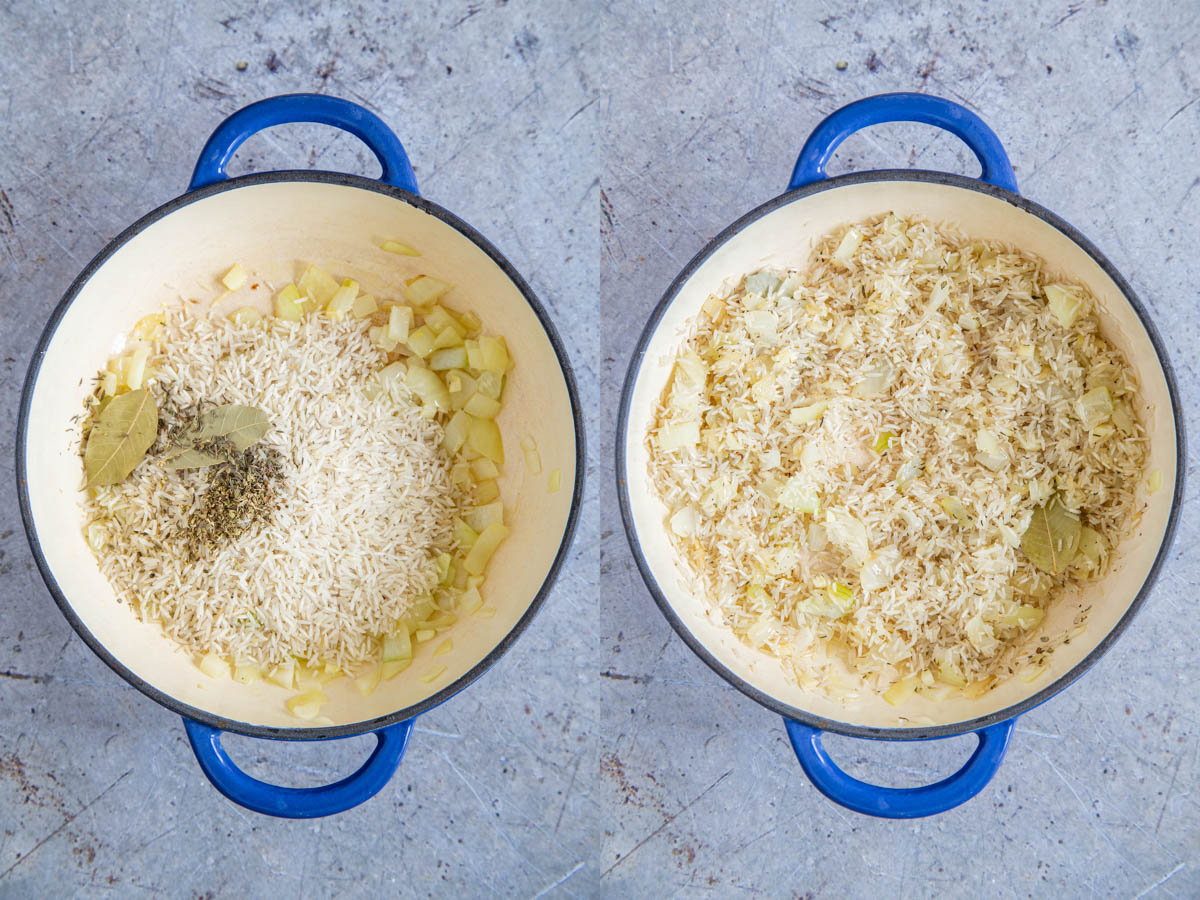 Greek rice - before and after adding rice and herbs, and stirring into the fried onion.
