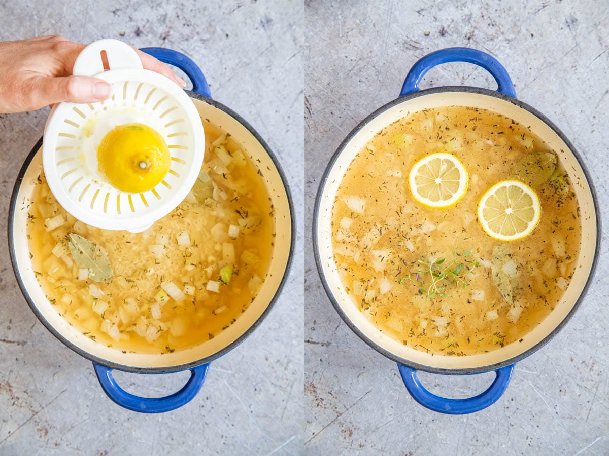A collage of two pictures: adding lemon juice to Greek rice from a lemon squeezer, and then the rice with stock and lemon slices, ready to cook.