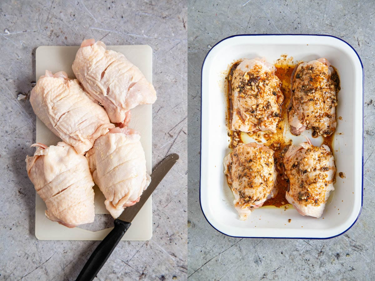 Two picture showing the chicken being prepared. The thighs are scored, then arranged in the roasting dish and the sauce is rubbed in.