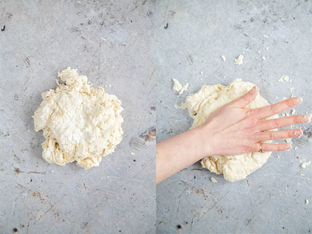 Briefly kneading self raising flour dough to bring all the ingredients together.