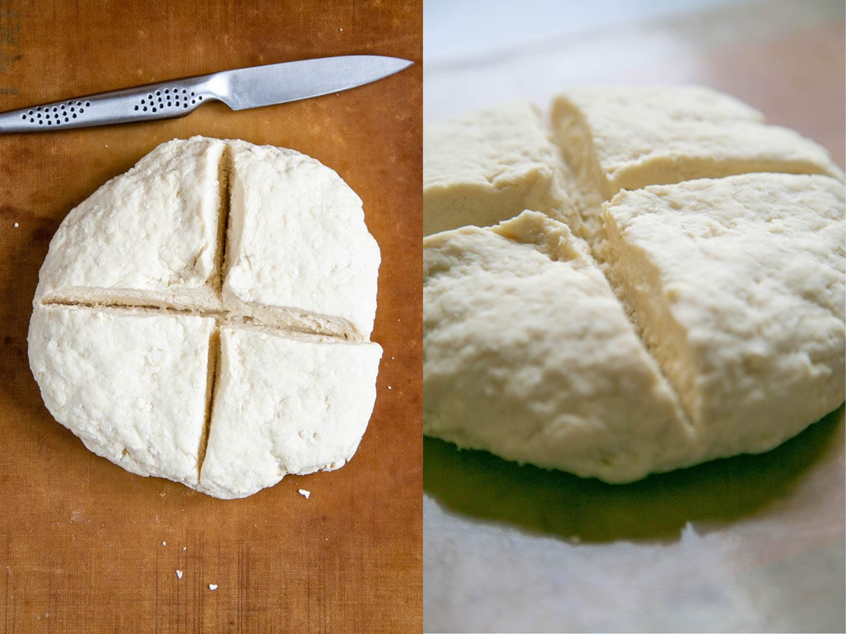 A collage showing a loaf of self raising flour bread ready to bake. The cut through the loaf goes most of the way though.