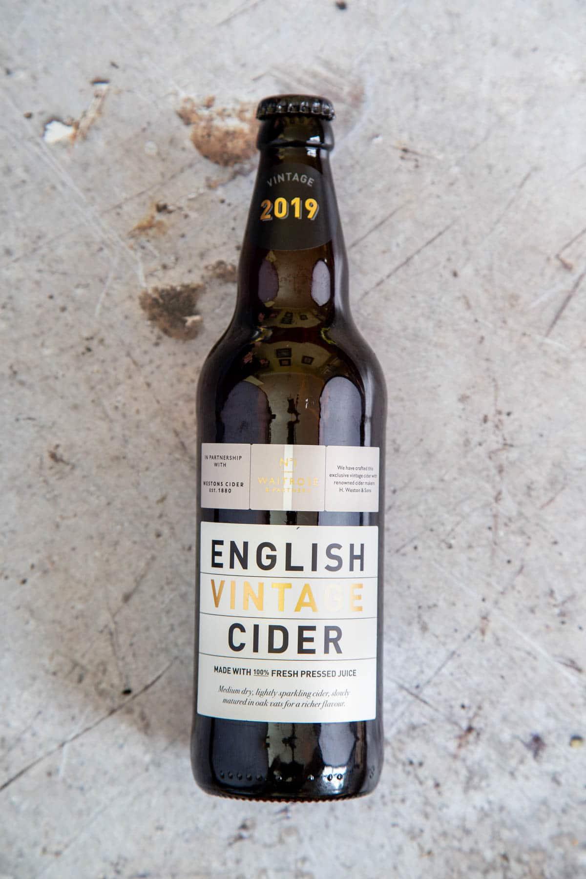 A bottle of English vintage cider.