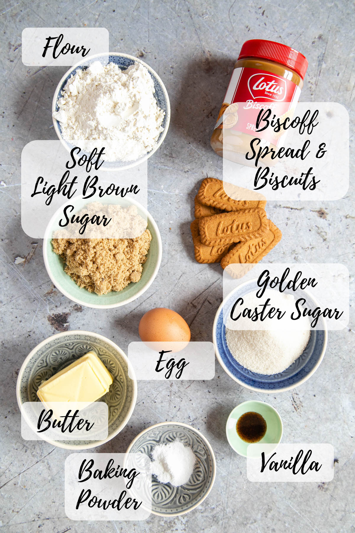 An annotated picture of ingredients for Biscoff spread; flour, Biscoff spread and biscuits, light brown and golden caster sugars, egg, butter, vanilla extract, baking powder.