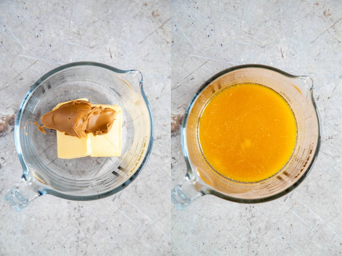 Melting butter and biscoff speculoos spread, before and after shots, arranged in a collage.