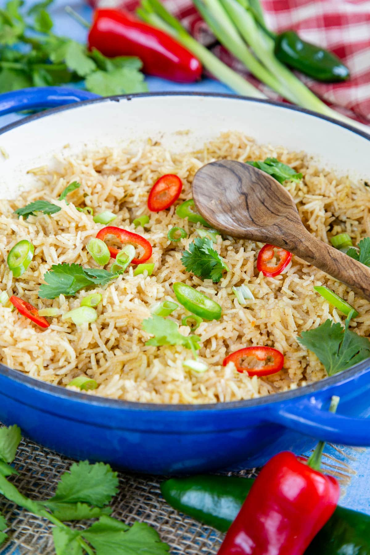 Easy Chinese rice in a white and blue casserole dish, ready to serve.