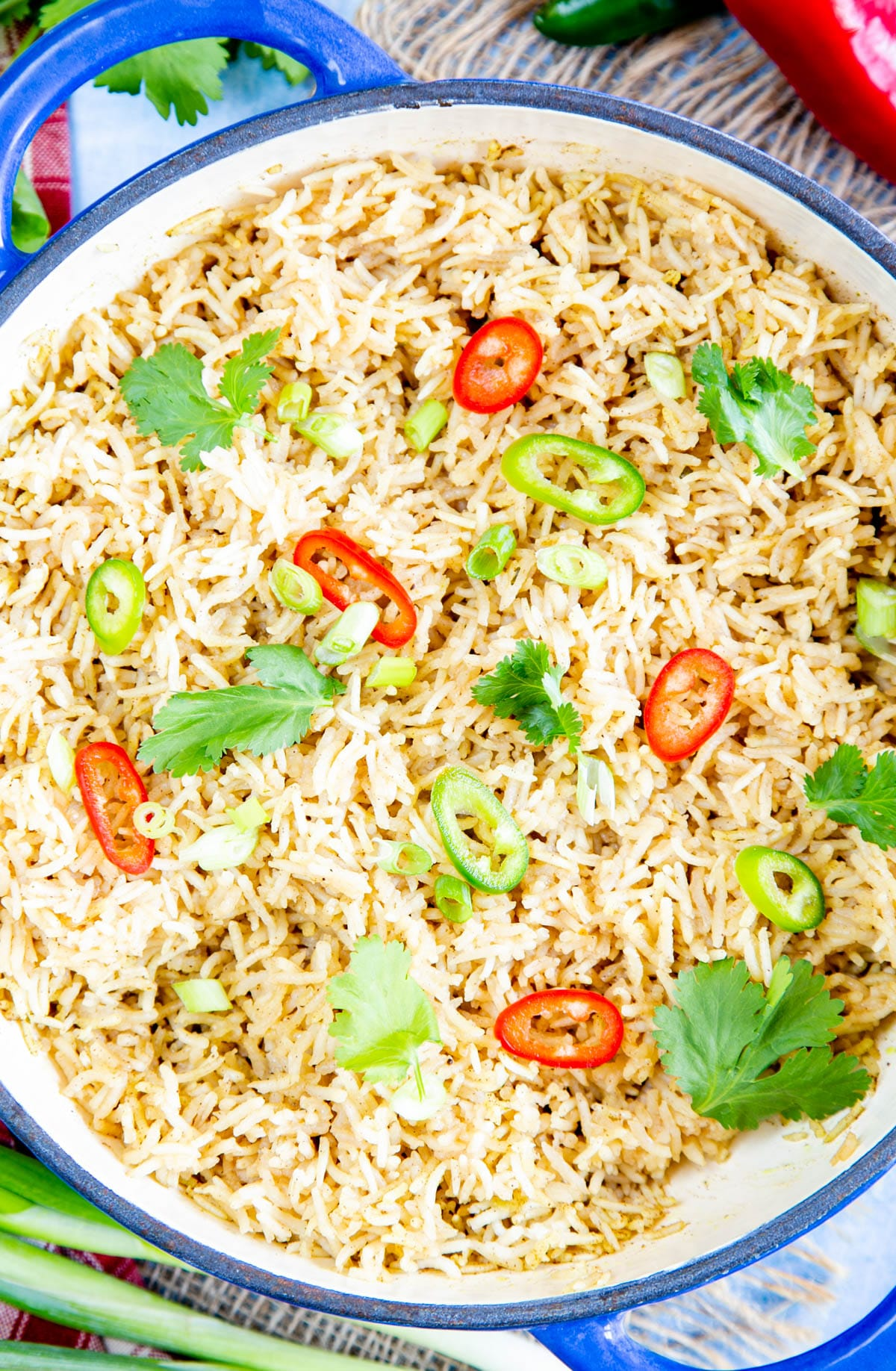A top down close up of easy Chinese rice