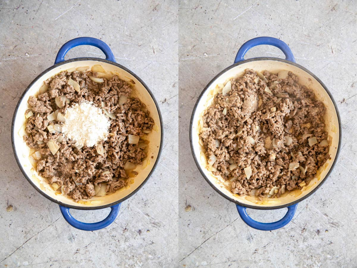 Flour has been added to cooked mince and onions, and then stirred in.