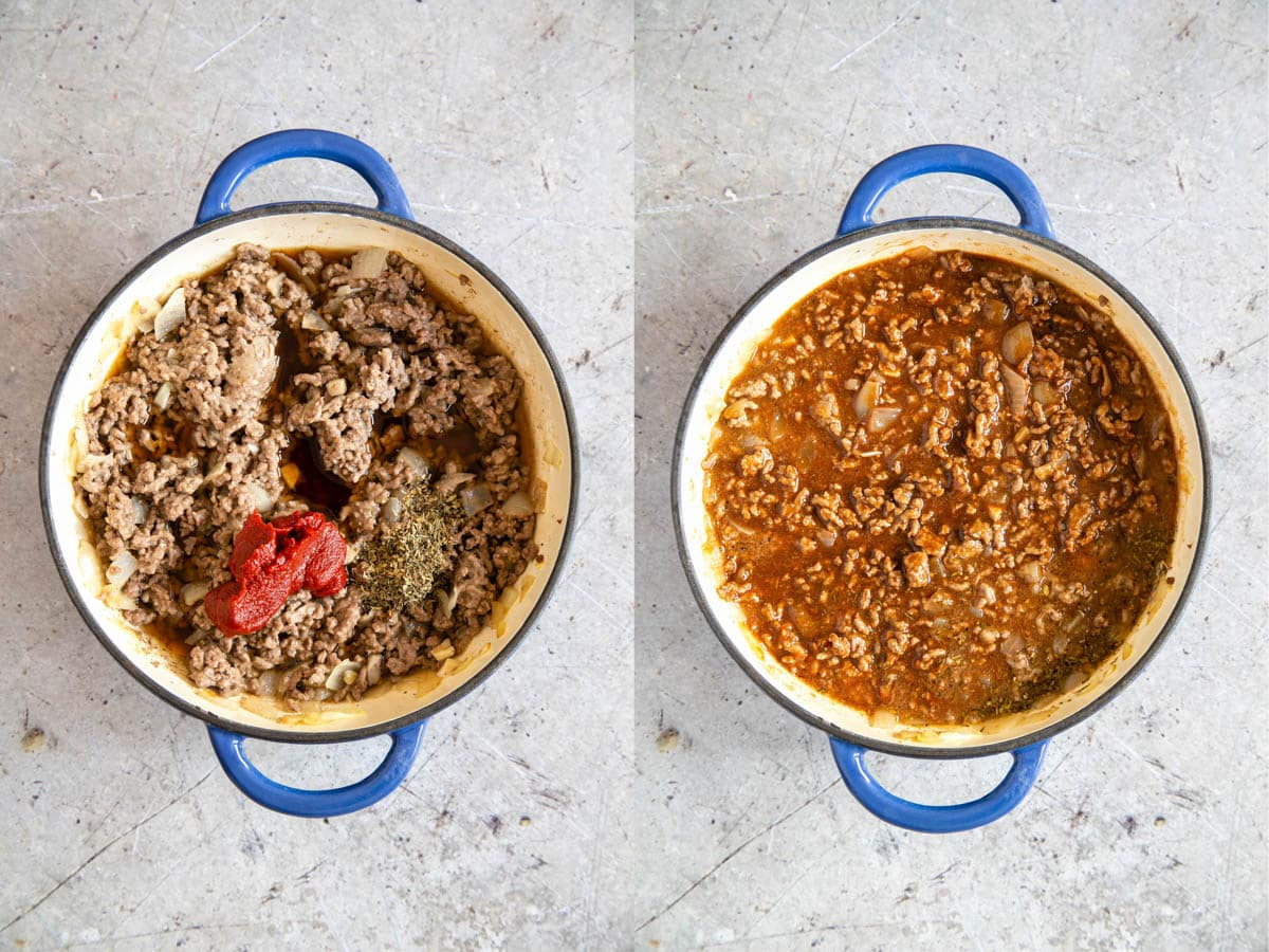 Herbs, tomato puree, and beef stock added to cooked mince in a shallow white bottomed casserole dish.