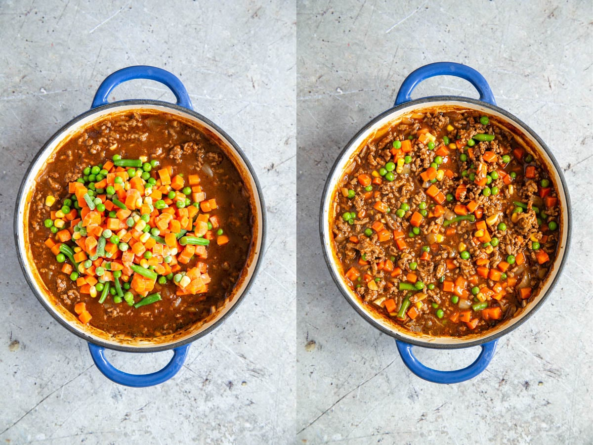 Frozen vegetables have been added to the savoury mince, and stirred in..