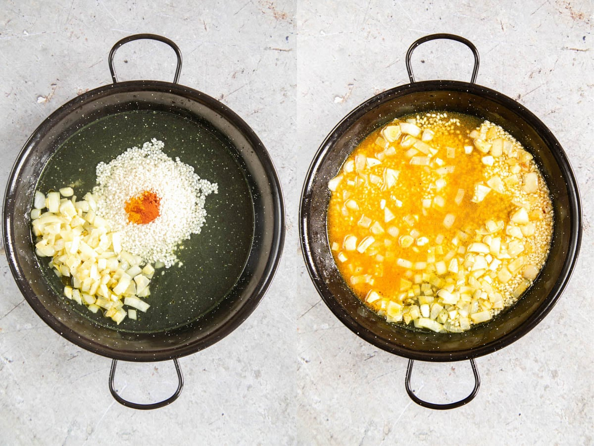 Two pictures of a paella pan with rice and spices added to cooked onion, and then with added stock.