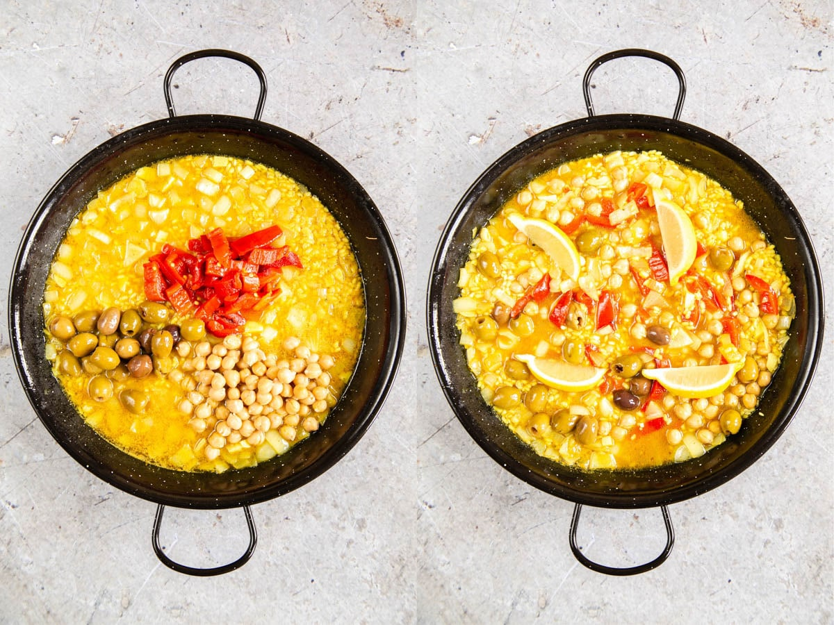 Adding chickpeas, sliced tinned peppers, and olives to paella. 2 pics: before mixing, and mixed and lemon wedges added.