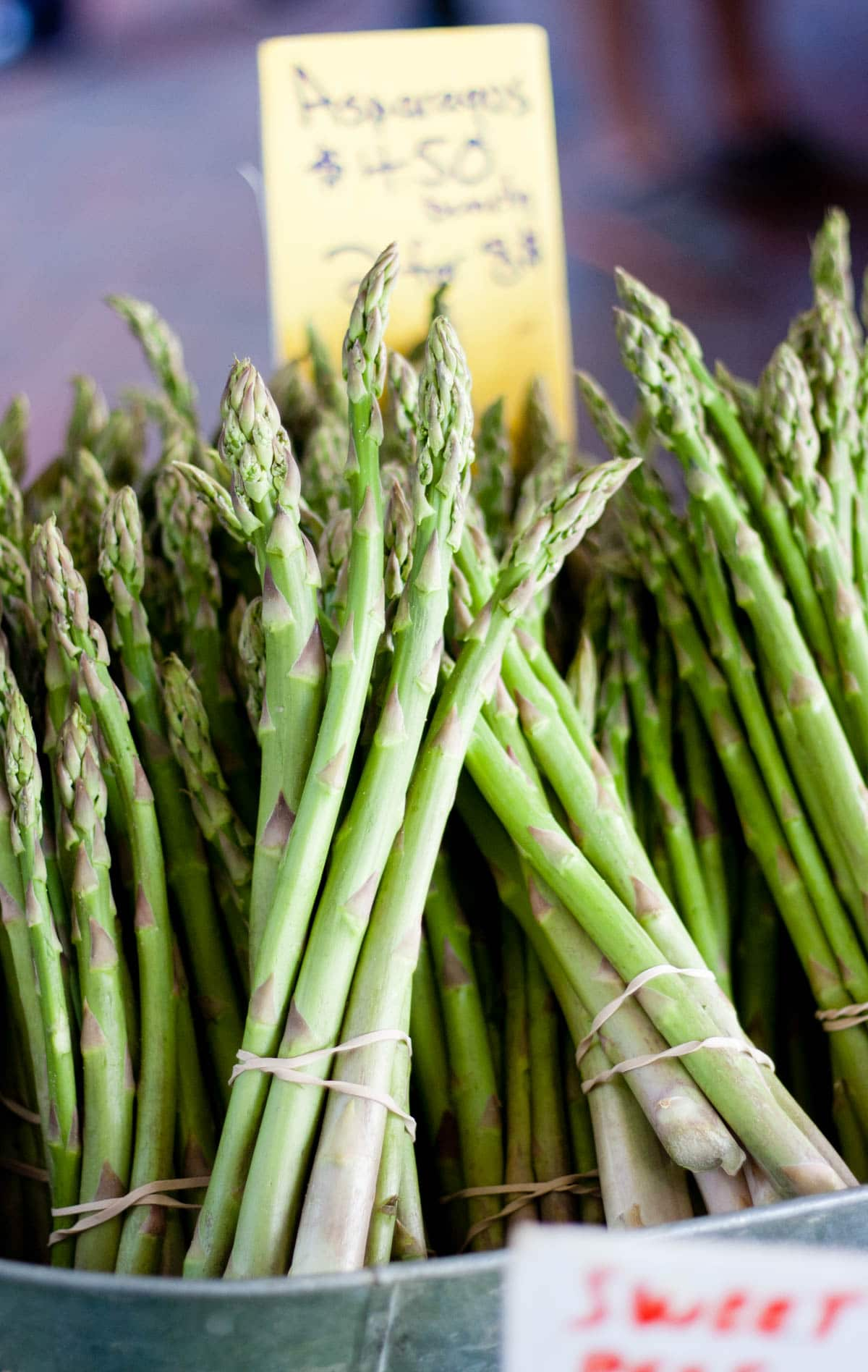 Bunches of fresh asparagus in the market