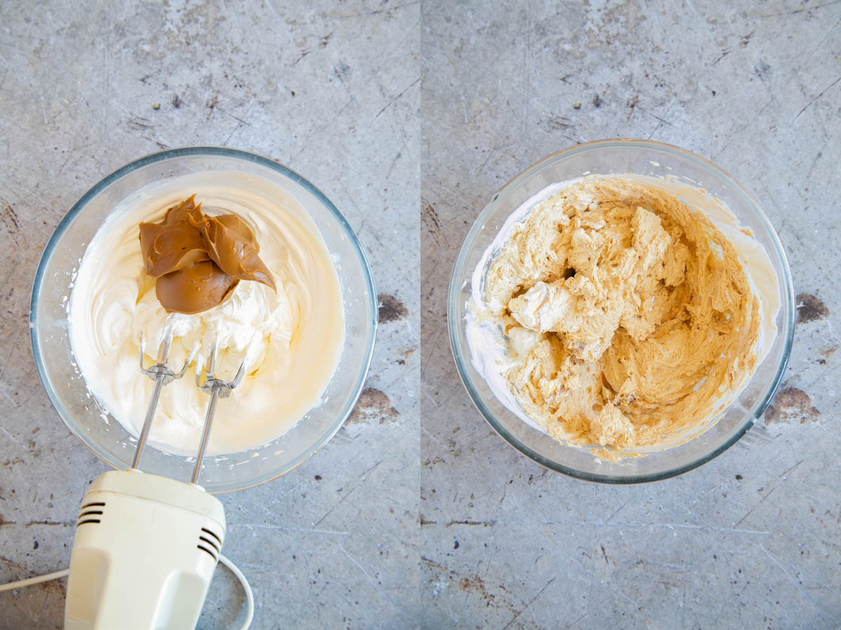 A collage - whipping the Biscoff speculoos spread into the cream. Before and after photos.