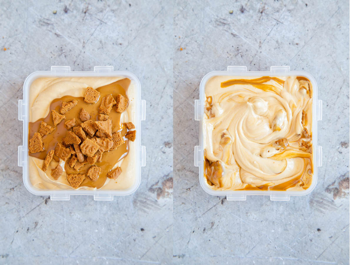 Ice cream ready to freeze - the Biscoff and biscuits are added to the ice cream and stirred in. The ice cream is then frozen. A collage of two pictures, before and after mixing in the toppings.