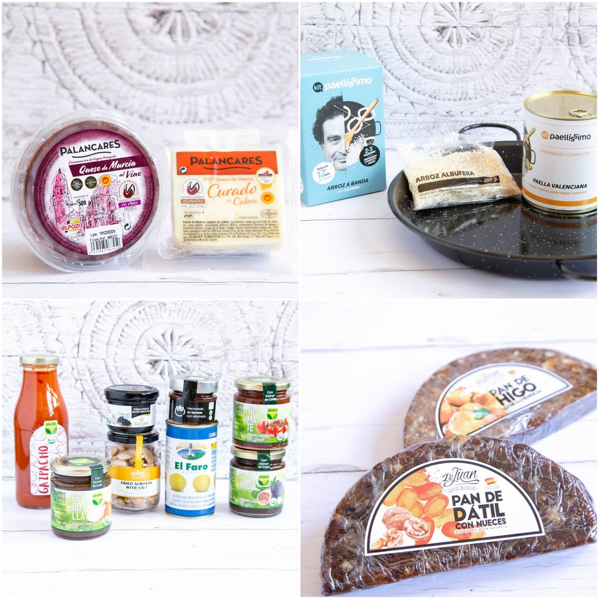 A collage of four layouts of products from Murcia: cheese, paella kit, dried fruit cakes and assorted items.