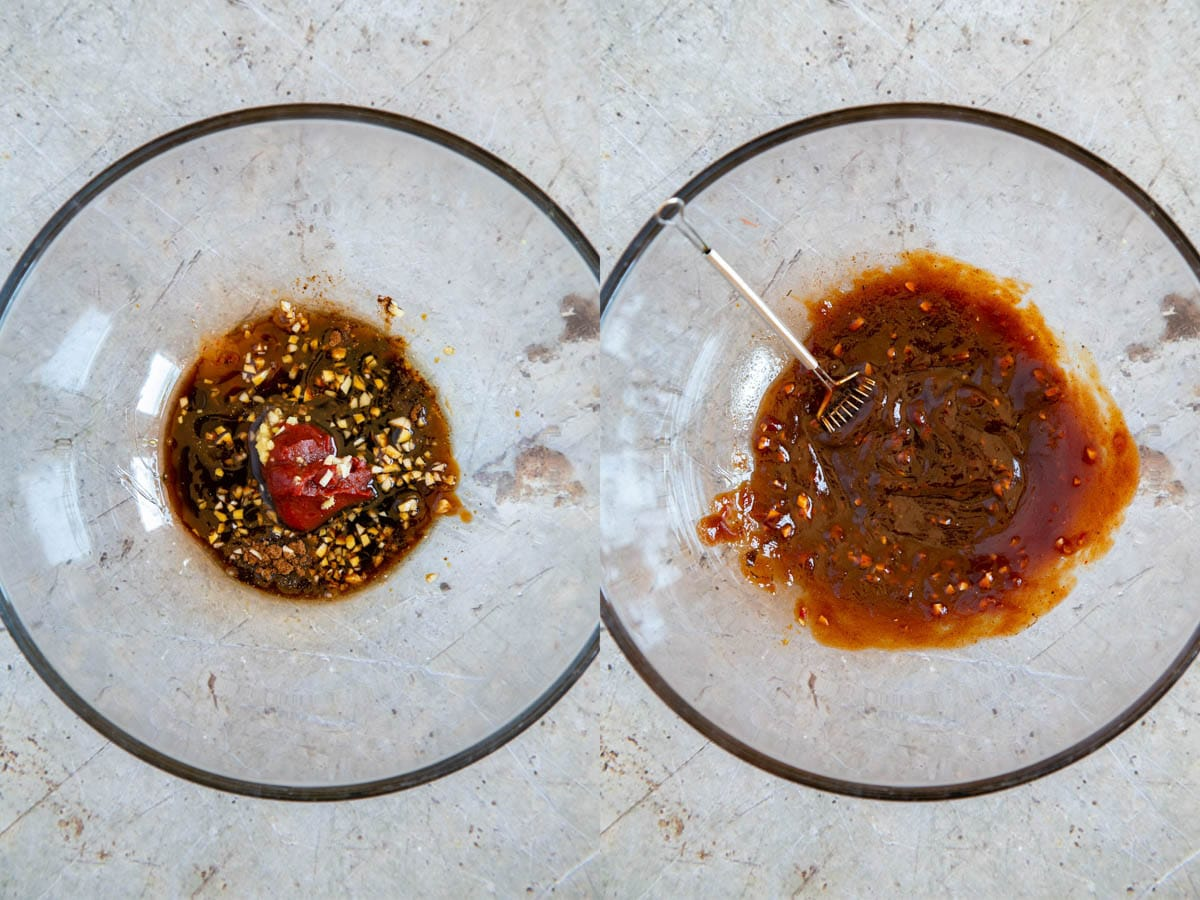 Making the marinade - a collage of the marinade ingredients in a large glass bowl, before and after mixing.