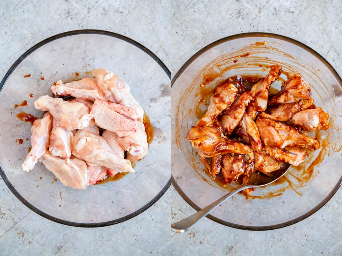 A collage of two pictures - marinading chicken wings, before and after. The wings are in a large glass bowl in this top down picture.