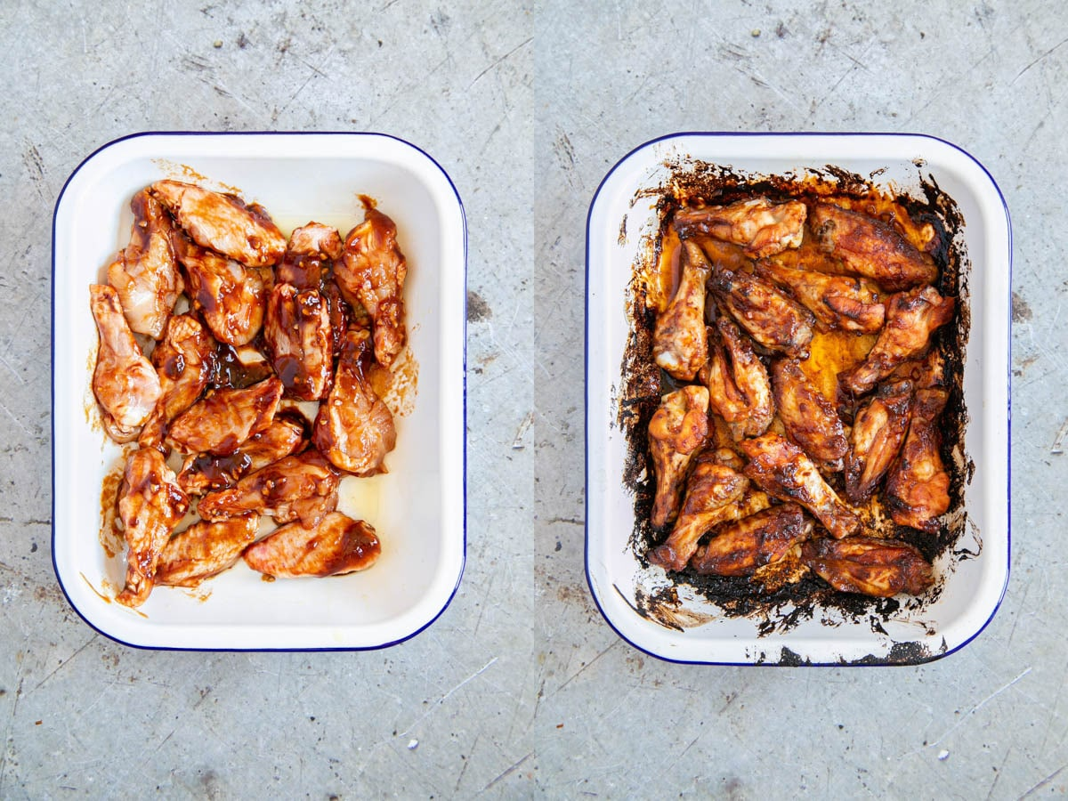 A collage of two pictures - sticky Asian chicken wings before and after cooking. The wings are in a shallow white enamel baking dish.