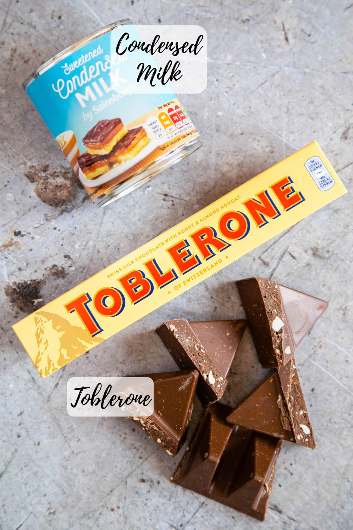 Only two ingredients for Toblerone fudge - a bar of Toblerone and a can of condensed milk.