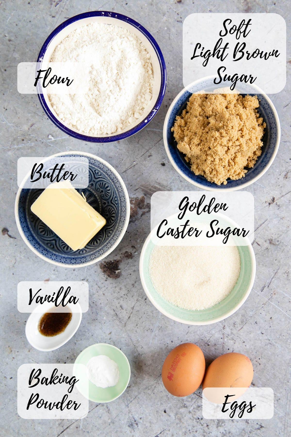 Ingredients: flour, soft brown sugar, golden caster sugar, butter, vanilla essence, baking powder, eggs.