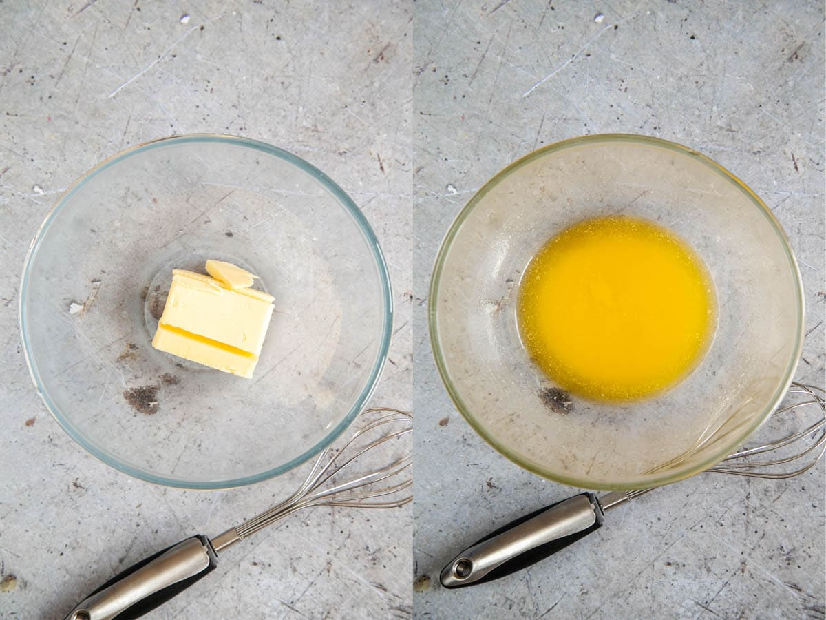 A collage of two pictures: unmelted and melted butter in a glass bowl. A whisk sits next to the bowl in both pictures.