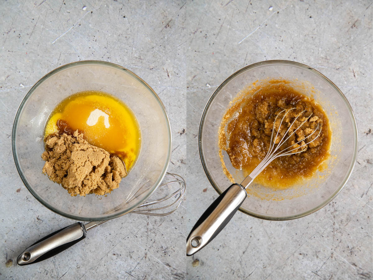 A collage of two pictures: brown sugar is added to melted butter, and then whisked in.