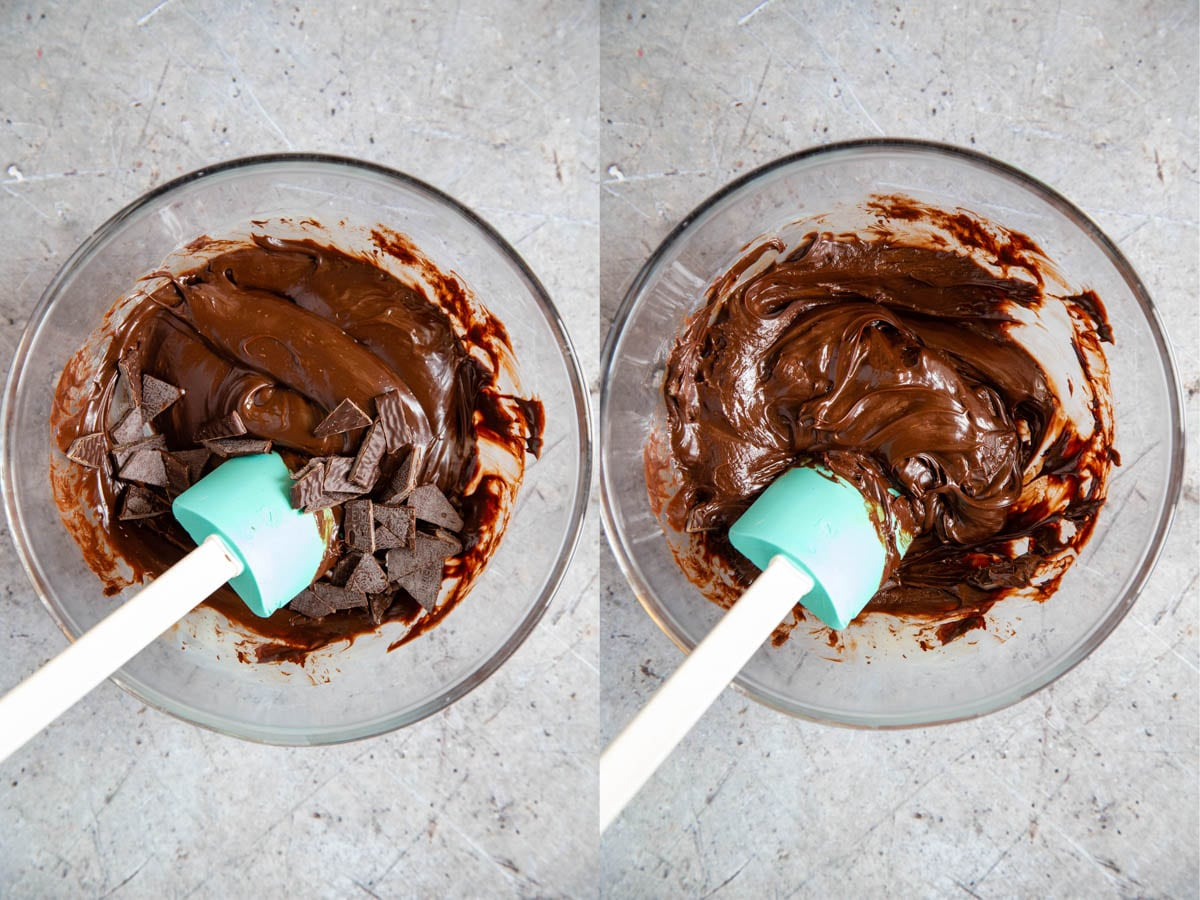 Making fudge - adding the cut pieces of mint to the rich chocolate and condensed milk mixture, and stirring together.