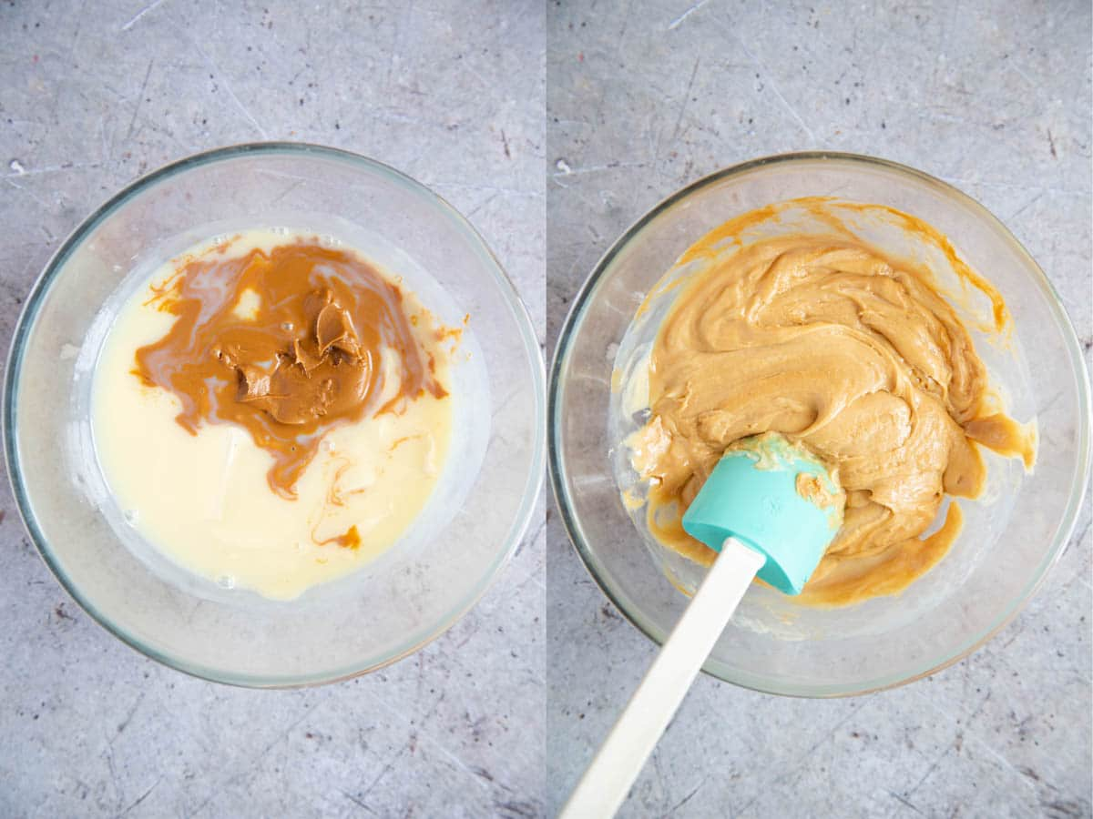 Making biscoff fudge - the mixture has been gently headed, and the chocolate has melted. The second image shows all three ingredients mixed together.