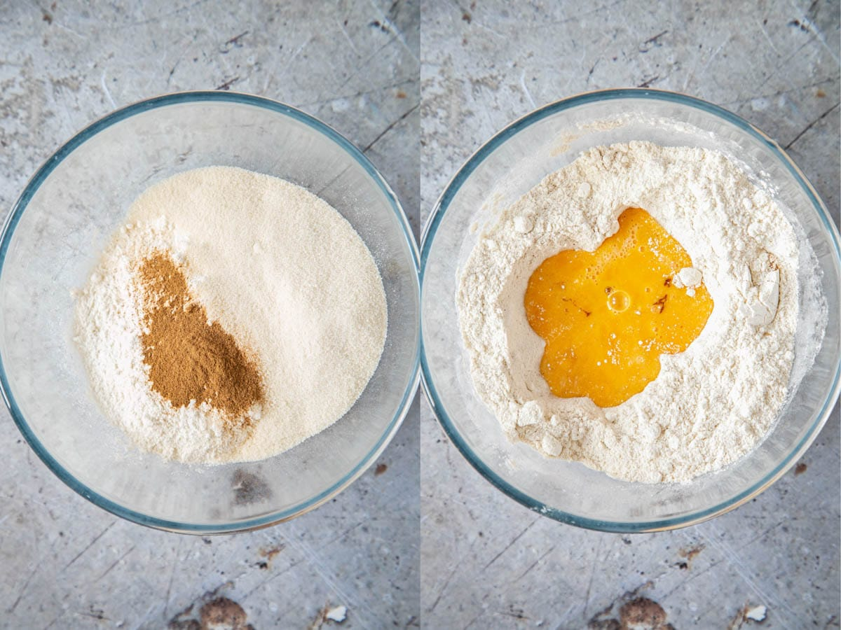 The dry ingredients for biscotti in a glass bowl. In a second picture, the eggs have been added.