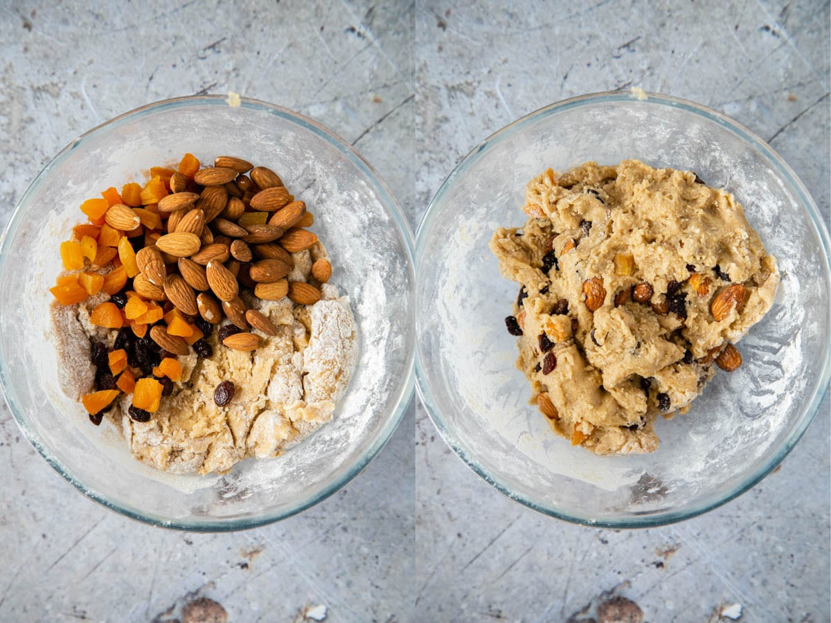 Nuts and dried fruits are added to the dough, and then mixed in