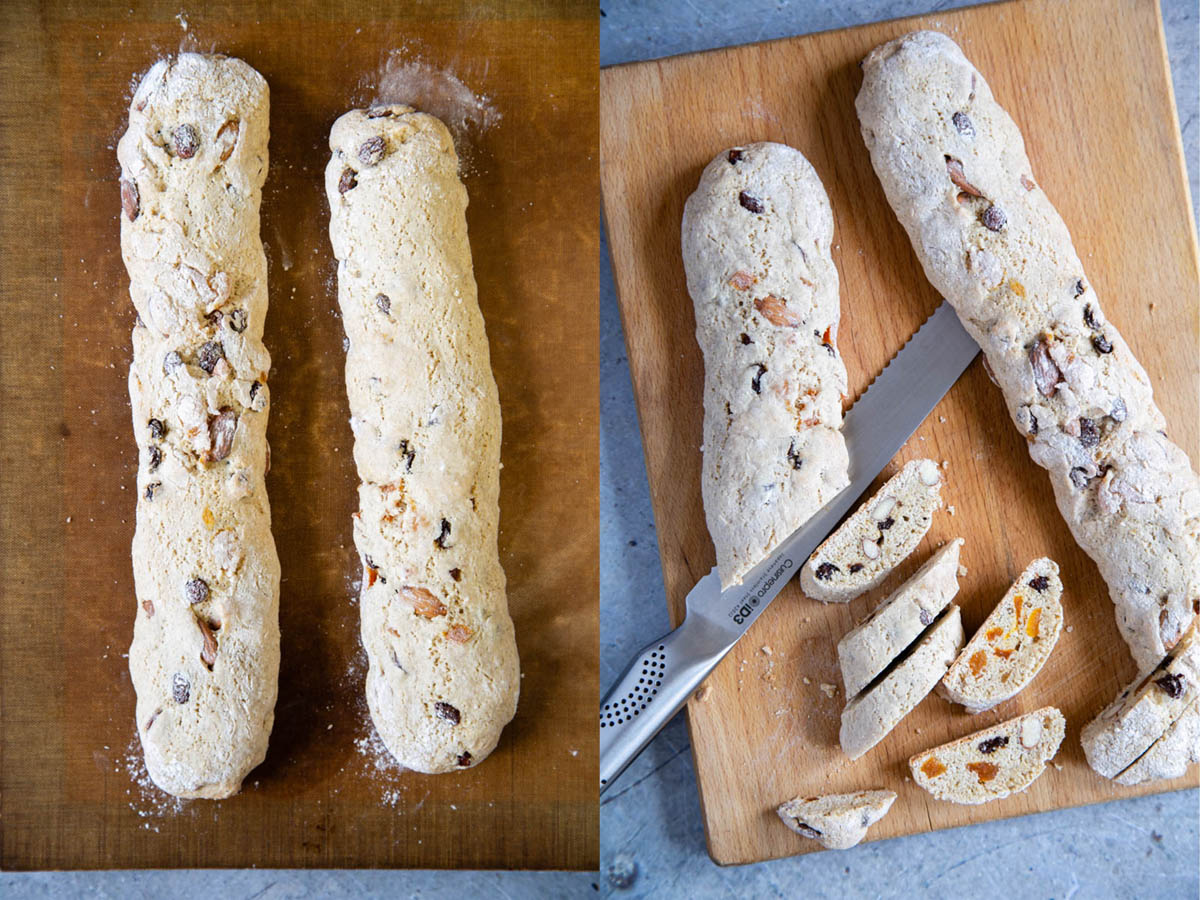 The biscotti are half cooked, then cut into slices.